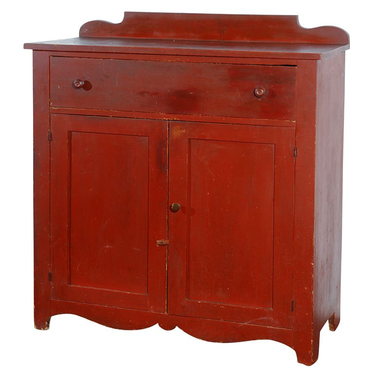 New Couches For Sale: 19thc Original Red Painted Jelly Cupboard From New England