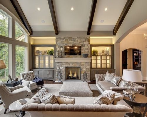 Ceiling lights semi formal transitional living room with fireplace ...