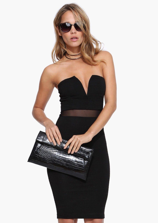 Black Sweetheart Mesh Dress