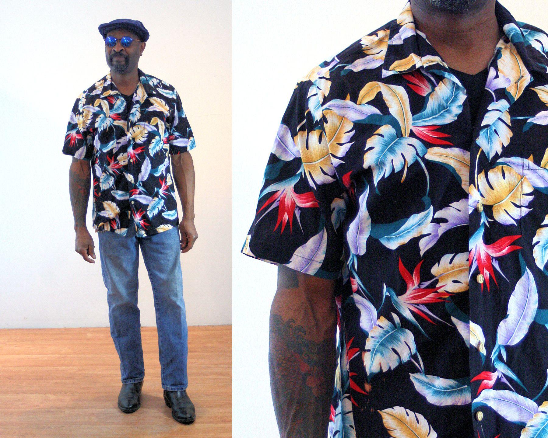 53dac136 80s Hawaiian Shirt L, Black Tropical Bird Of Paradise Aloha Vintage Men's  Cotton Pool Party
