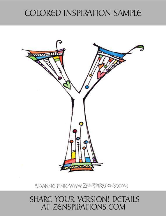 Zenspirations Von Joanne Fink Buchstabe Y Instant Digital Download
