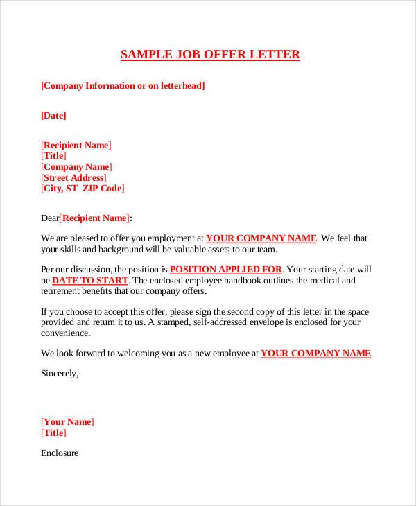 company offer letter template free word pdf format download - job offer