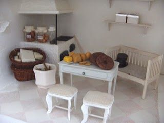 Kitchen view of the Scandinavian style dollhouse