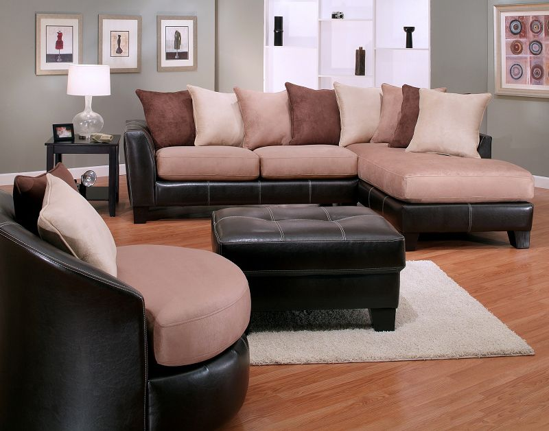 Awe Inspiring 4Pc Oxford Mocha Sectional Sofa Ottoman Swivel Chair Set Dailytribune Chair Design For Home Dailytribuneorg