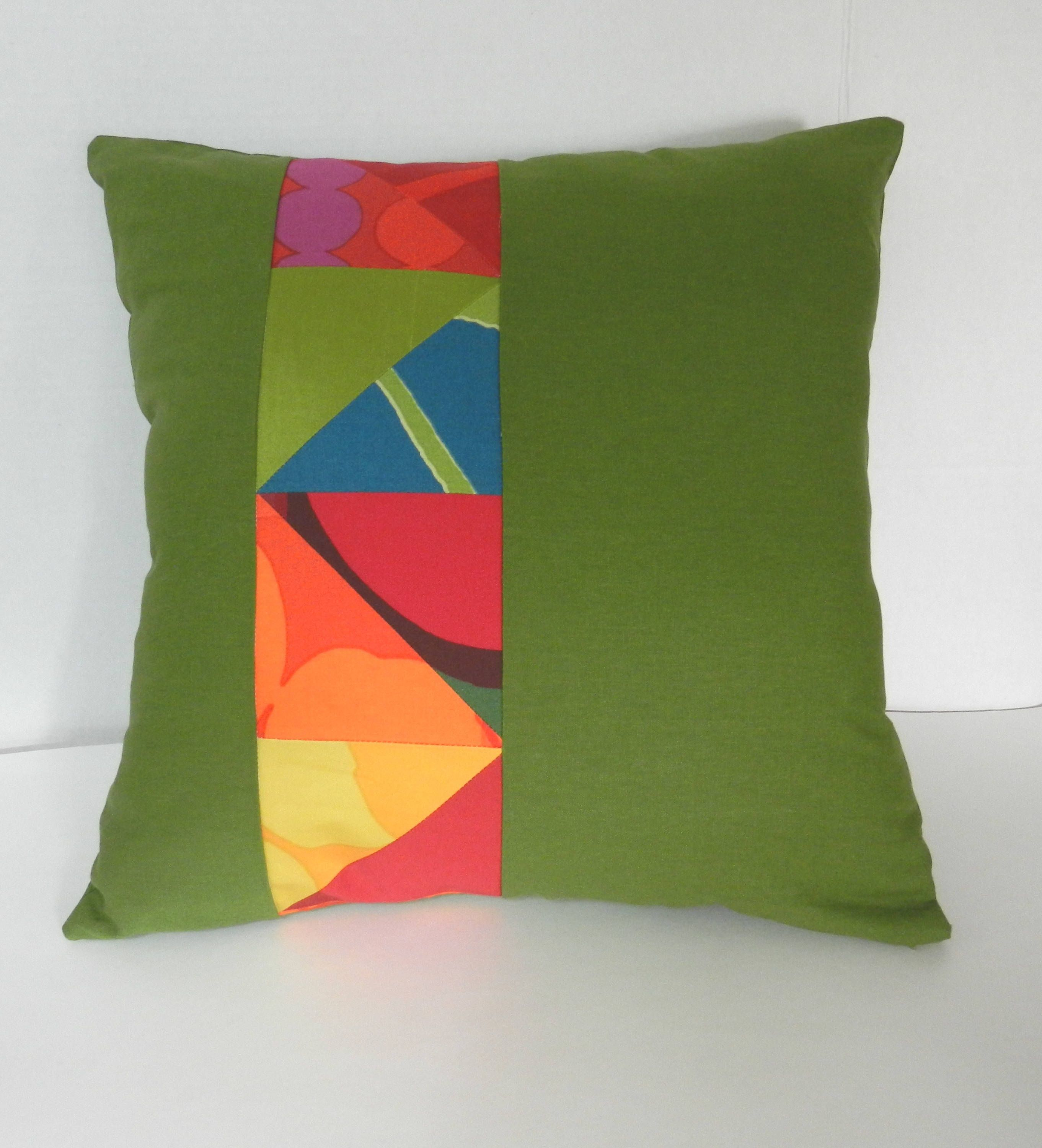 Modern Art Chair Covers And Linens Chairman Meaning In Hindi Marimekko Green Linen Patchwork Pillow Cover Fiber Rainbow Quilt One Of A Kind 18 X Inches For Sofa Or Bed By