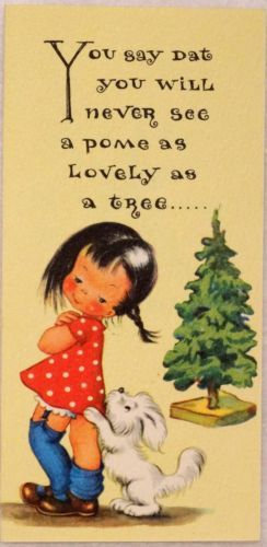 1523 50s Unused Rust Craft Brownie Girl Dog Vintage Christmas Greeting Card | eBay