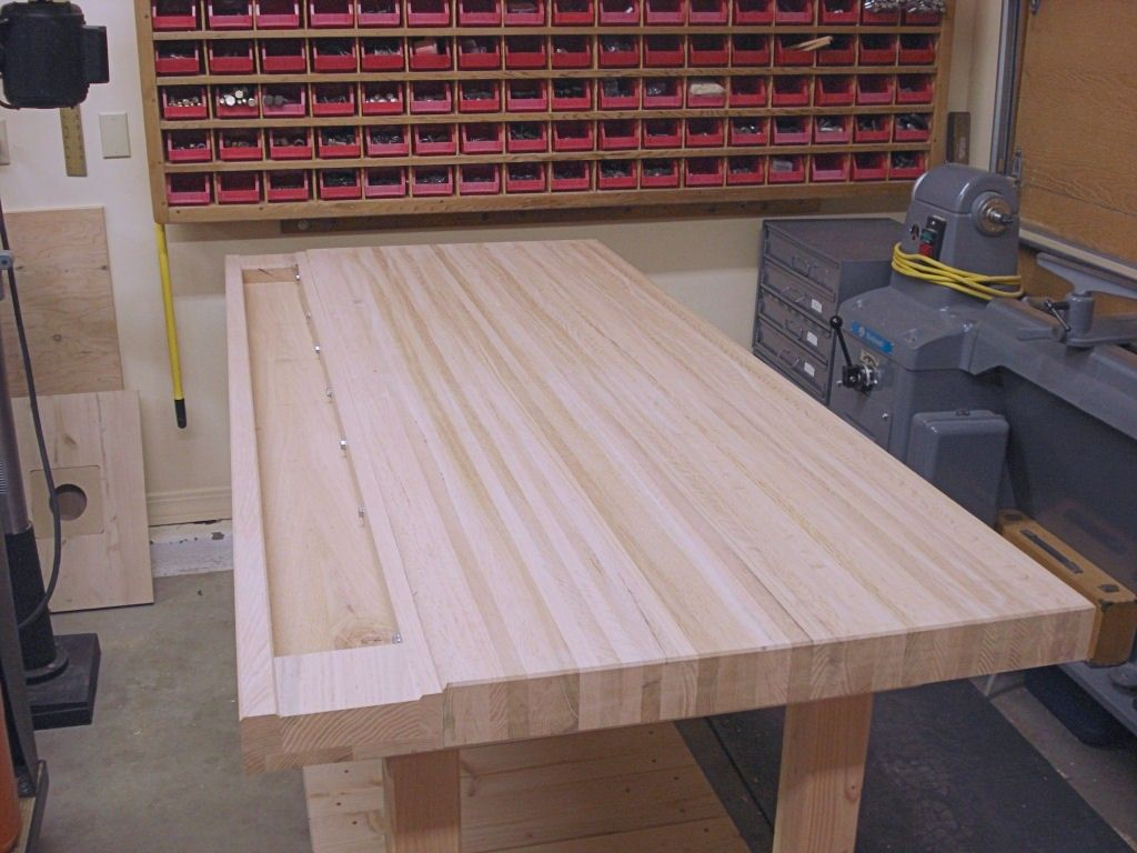 Furniture: Woodworking Bench Top Design Ideas: Wood Materials of Workbench Top Design