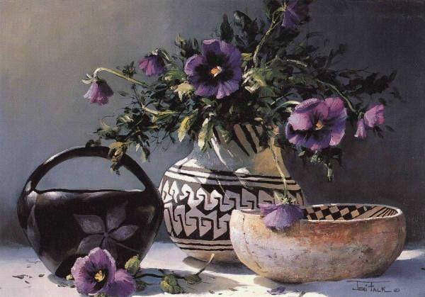 """Joni Falk,  """"Pottery and Purple Pansies"""""""