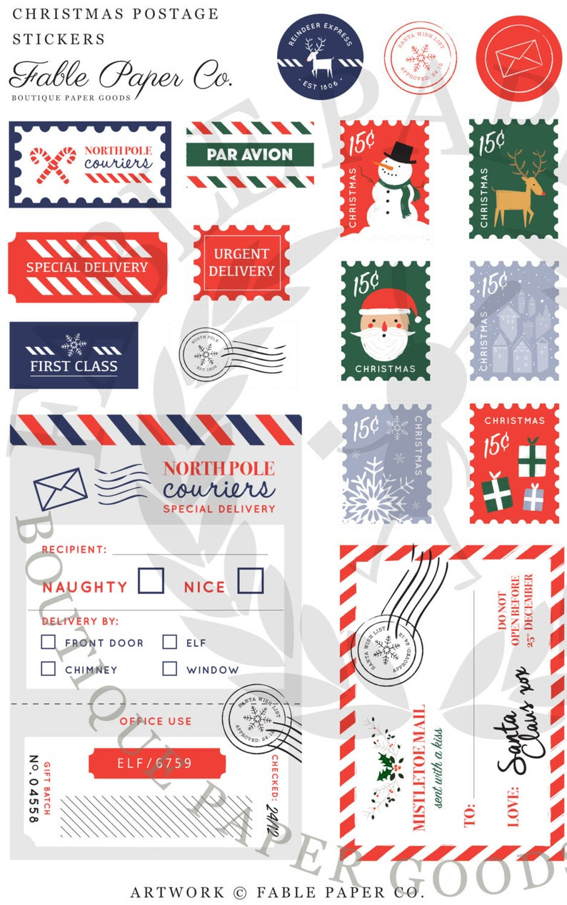 Santa Claus Official Postage Marks Stamps Etsy In 2021 Christmas Stationery Christmas Packaging Christmas Lettering