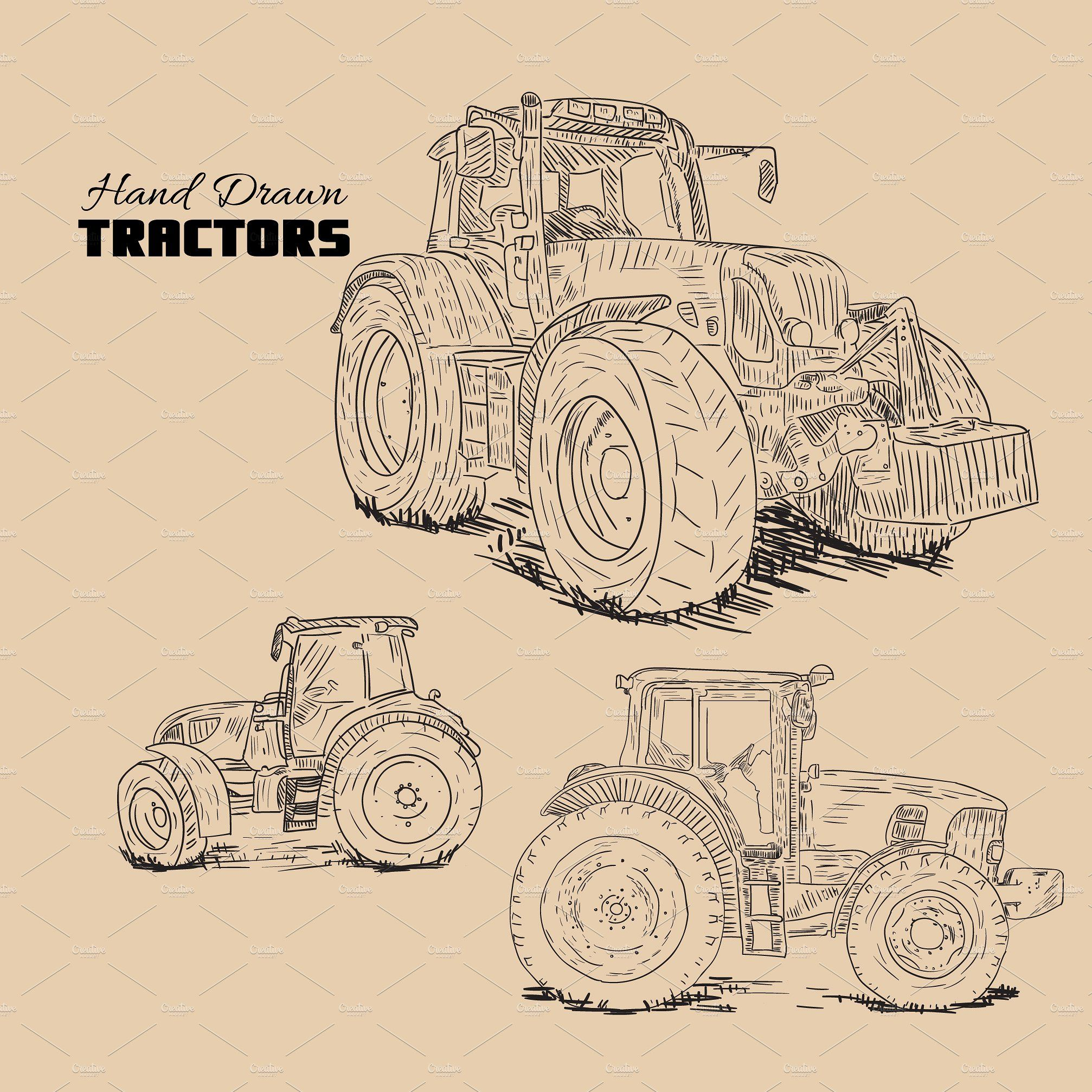 Set Of 3 Hand Drawn Tractor Sketches How To Draw Hands Tractor Art Tractor Drawing