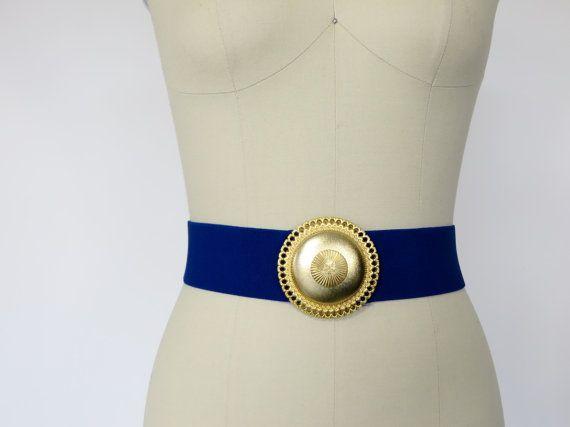 Vintage Cobalt Blue Belt / Wide Stretch Design by 4birdsvintage