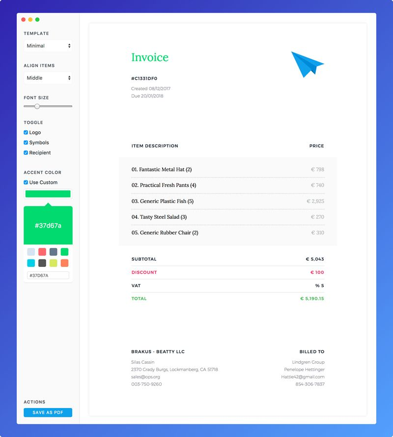 Do you need simple desktop application for creating invoices with beautiful and customizable templates?