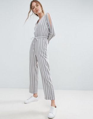 ASOS Jumpsuit in Twill with Cold Shoulder and Waist Detail in Stripe