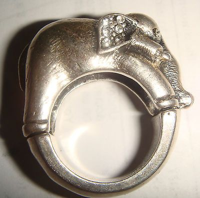 Heavy Large Chunky Vintage Sterling Elephant Ring Size 7 Clear Stones