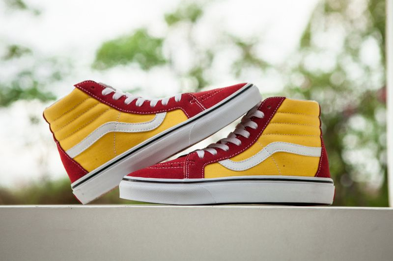 8ddbfe07e728d0 ... Macro new Vans Sk8-Hi series of new color McDonalds red and yellow  color high  Vans Womens Shoes Buying Cheap ...
