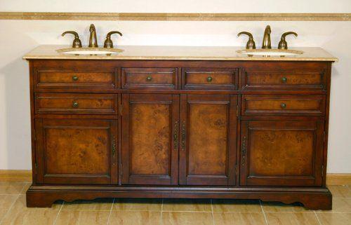 72 Bathroom Furniture Travertine Top Double Sink Vanity Cabinet 716T