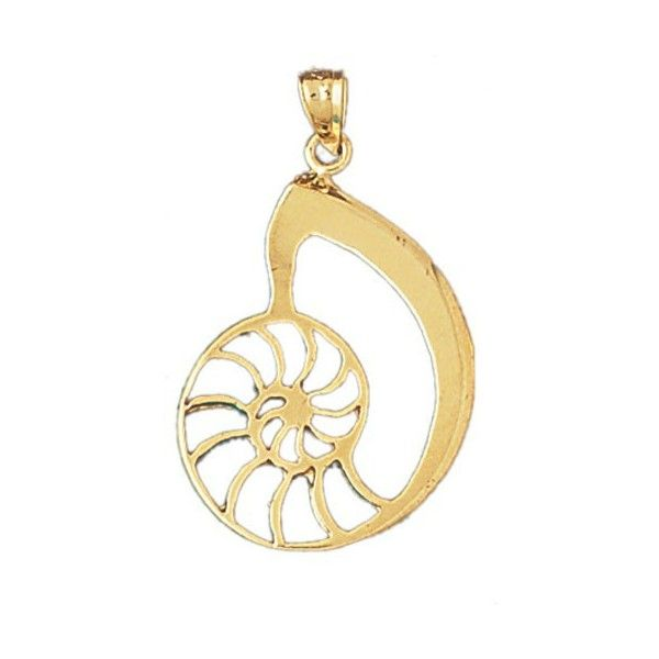 14K GOLD NAUTICAL CHARM SHELL 327 liked on Polyvore featuring