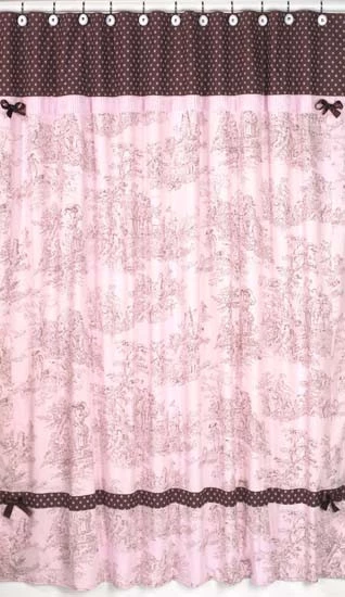 Jojo Designs Shower Curtain Pink Brown Toile French Pink