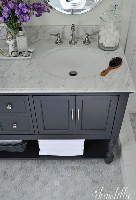 love these materials and cabinet color. dear lillie: a little peek