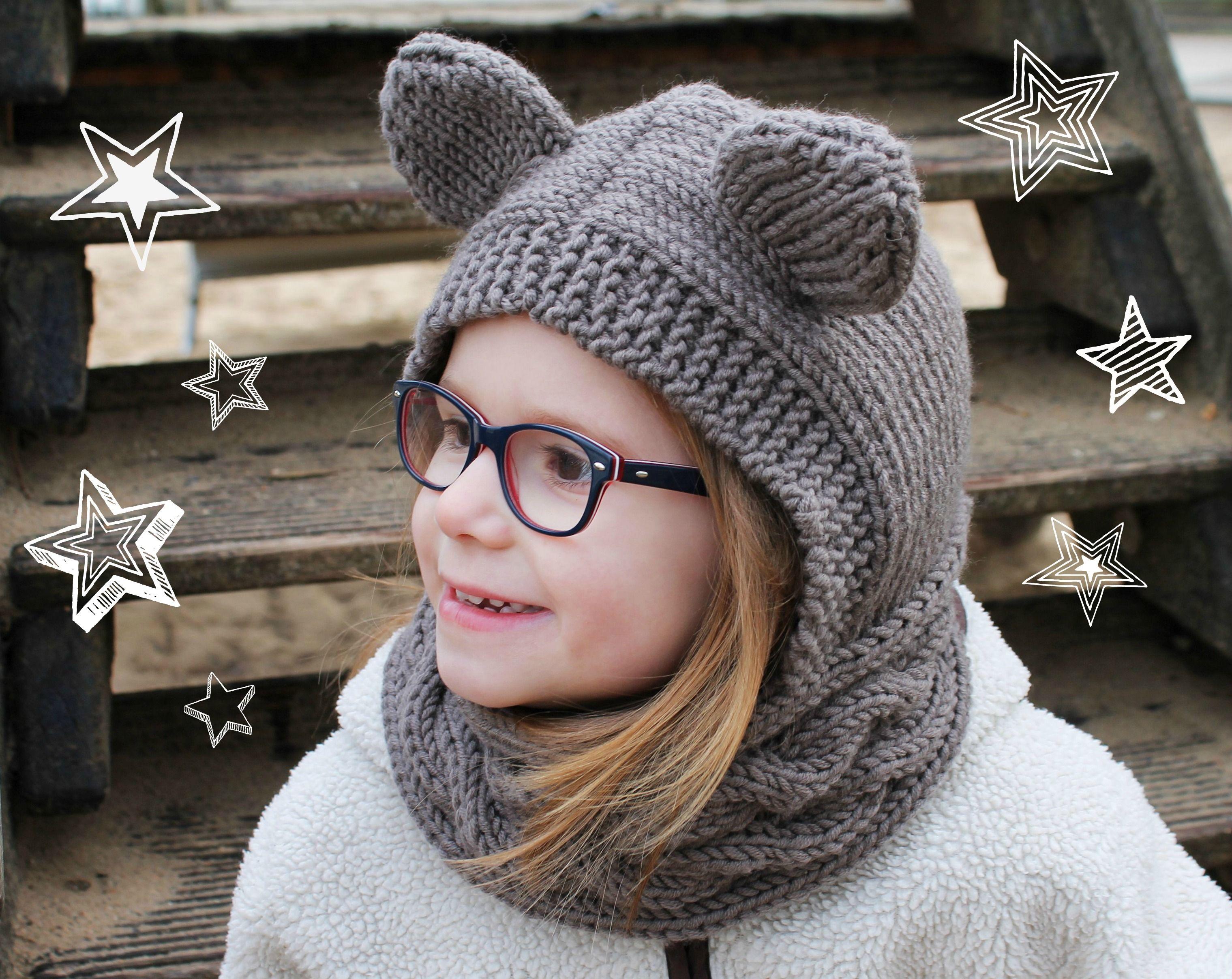 Schalmütze mit Ohren stricken: Strickkit Pu | Pinterest | Schalmütze ...