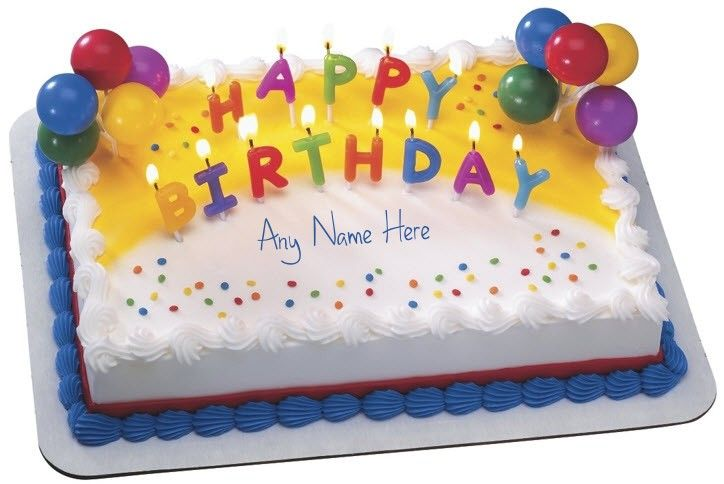 Write Name Of Your Loved Ones On The Birthday Cake With Candles With