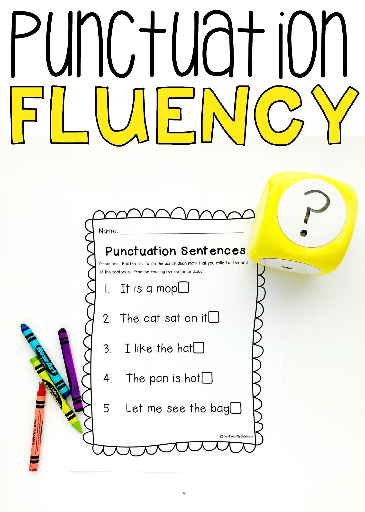 Punctuation Sentences For Fluency Printable