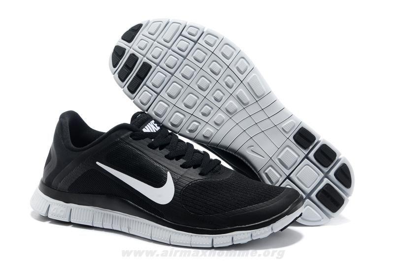 Nike free · Noir Blanc Hommes Nike Free 4.0 V3 ...