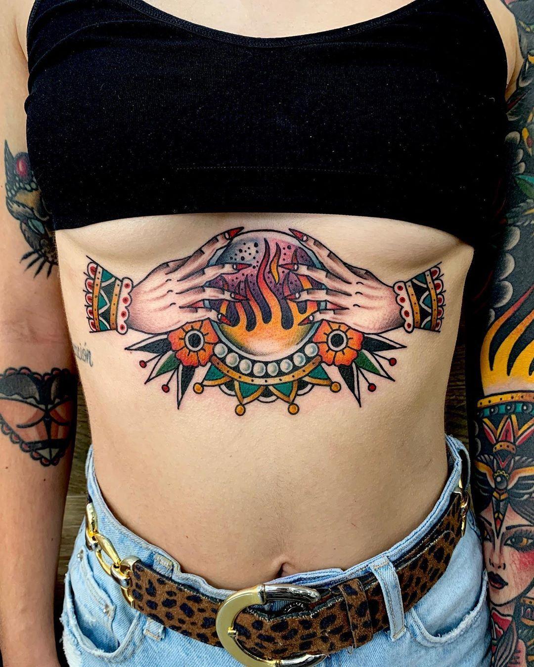 Crystal Ball Sternum Tattoo Tattoo Ideas And Inspiration
