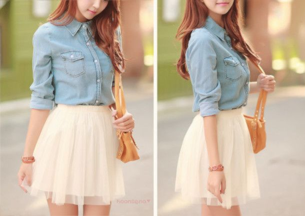 denim shirt and cream skirt look | Photo shoot inspiration ...