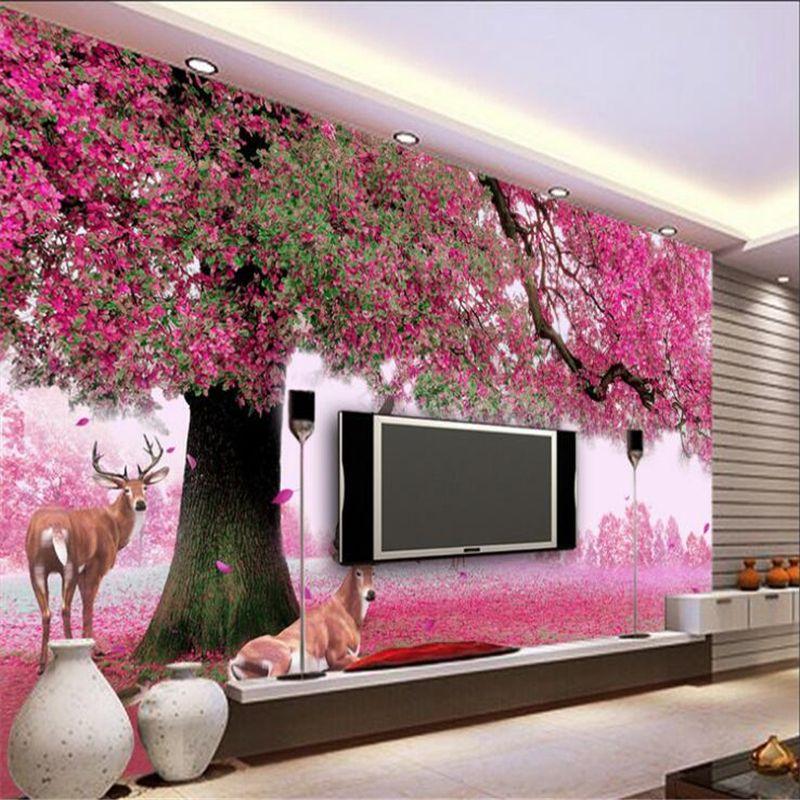 Beibehang Custom Wallpaper Big Trees Sika Deer Cherry Blossom Rainbow Tv Background Wall Living Room Bedro Mural Wallpaper Living Room Wall Designs Wall Design