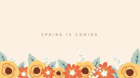Light Pink Illustrated Flowers Spring Desktop Wallpaper #springdesktopwallpaper