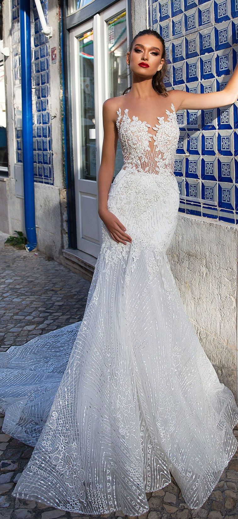 Illusion neckline heavy embellishment mermaid wedding dress : Milla Nova wedding dress #weddingdress #weddinggown #wedding #bridedress