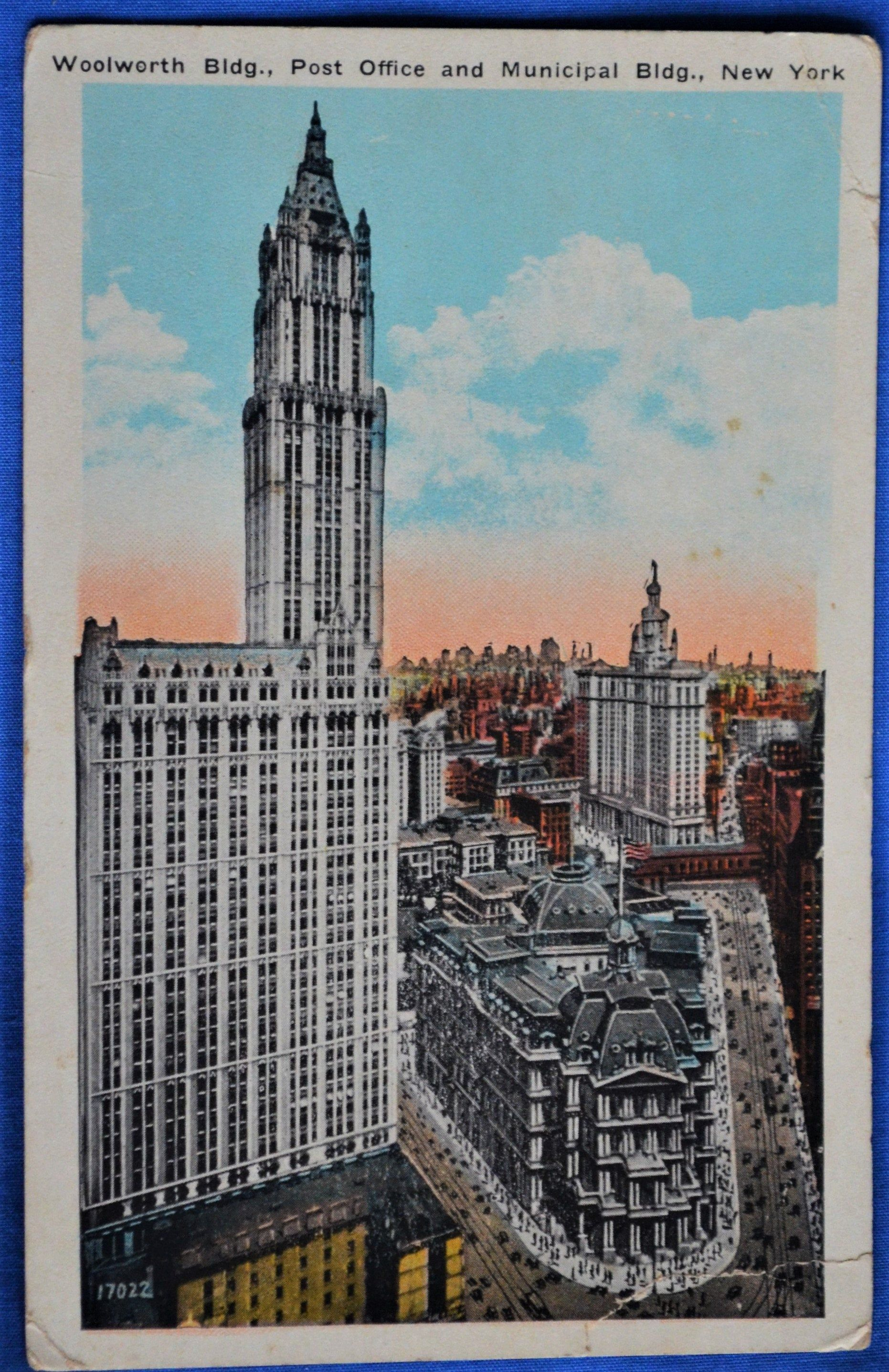 Woolworth Post Office Municipal Building New York Ny White Border Postcard In 2020 Woolworth Building Post Office Building