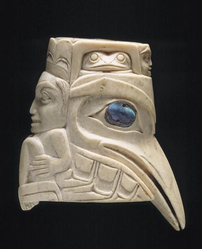 Raven and crouching figure and masks  Date: 19th century.  North America, Canada.  Culture: Haida people