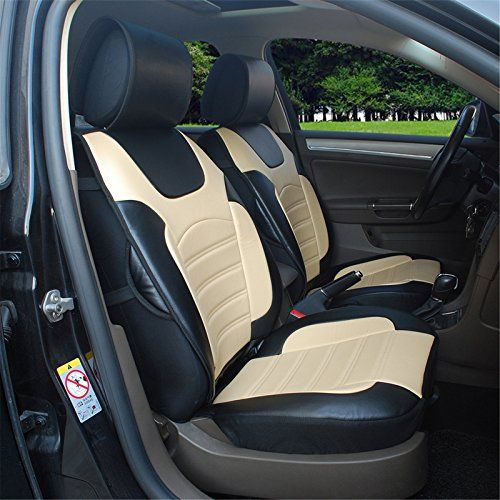 180205S BlackTan2 Front Car Seat Cover Cushions Leather Like Vinyl Compatible To Infiniti QX50 QX60 QX70 QX80 20172007 Learn More By Visiting The Image