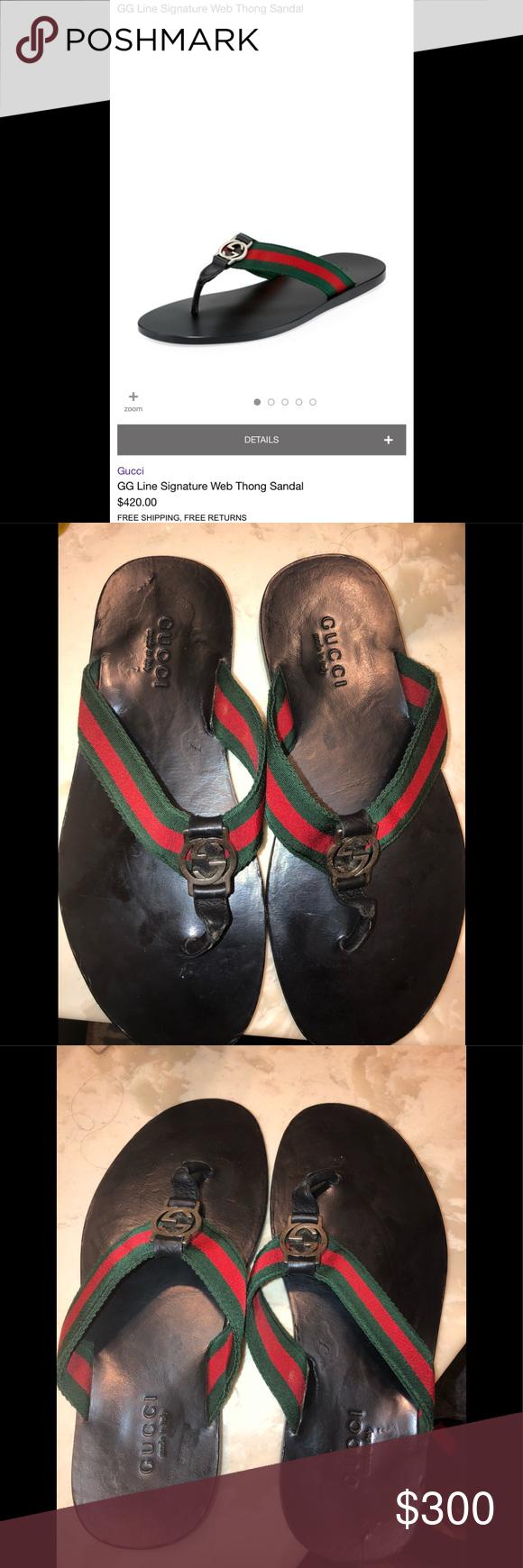 a05eb48a66bda Gucci GG line signature web sandal 7 Beautiful pre-owned pre-loved Gucci  thong