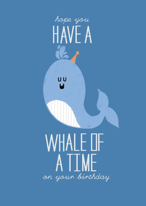 531195b2b3bd95 Whale of a Time Birthday Card by LWalkerIllustration on Etsy