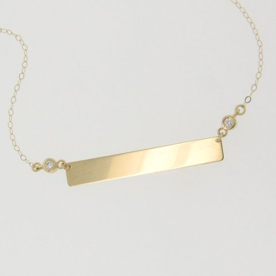 Diamond nameplate necklace gold bar necklace engravable 14k gold diamond nameplate necklace gold bar necklace engravable 14k gold name plate as seen on kim kardashian also available as a bracelet aloadofball Image collections