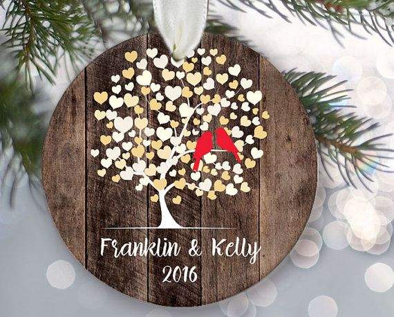 Lovebirds Ornament Personalized Christmas Ornament Rustic ...