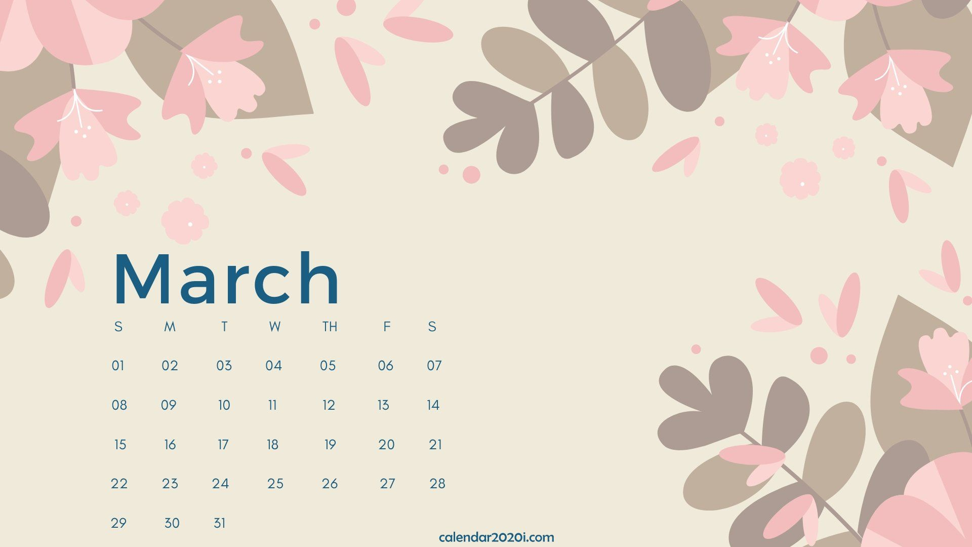 March 2020 Calendar Desktop Wallpaper Calendar printables