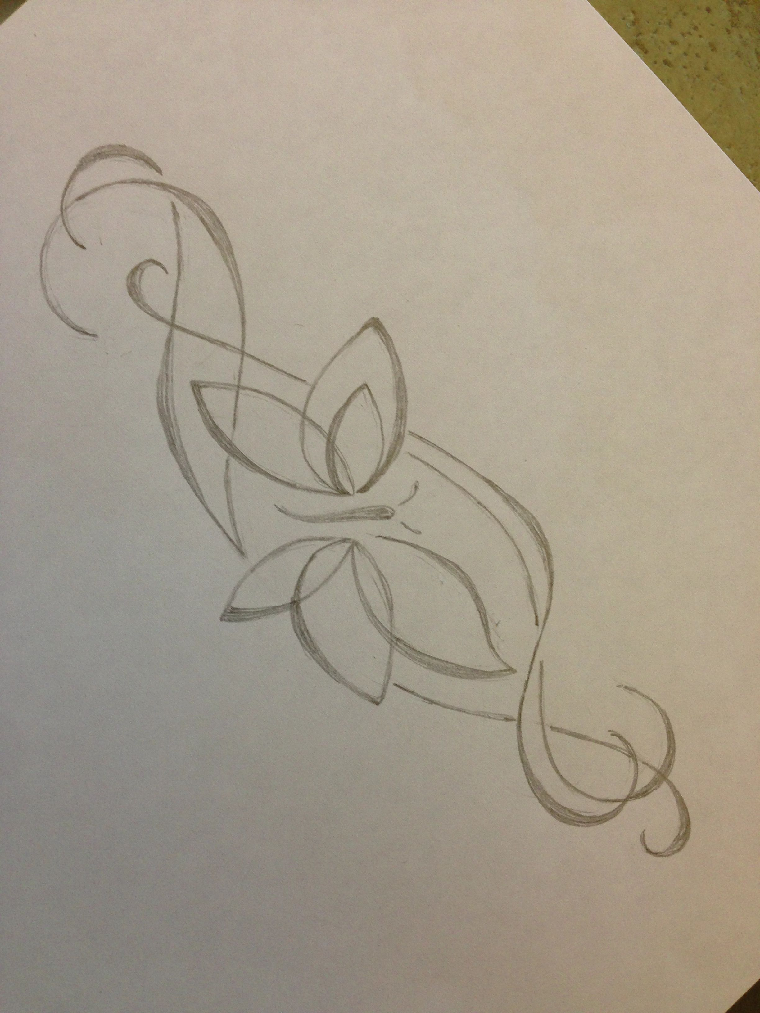 Custom butterfly neck tattoo drawing. Pencil Sketches