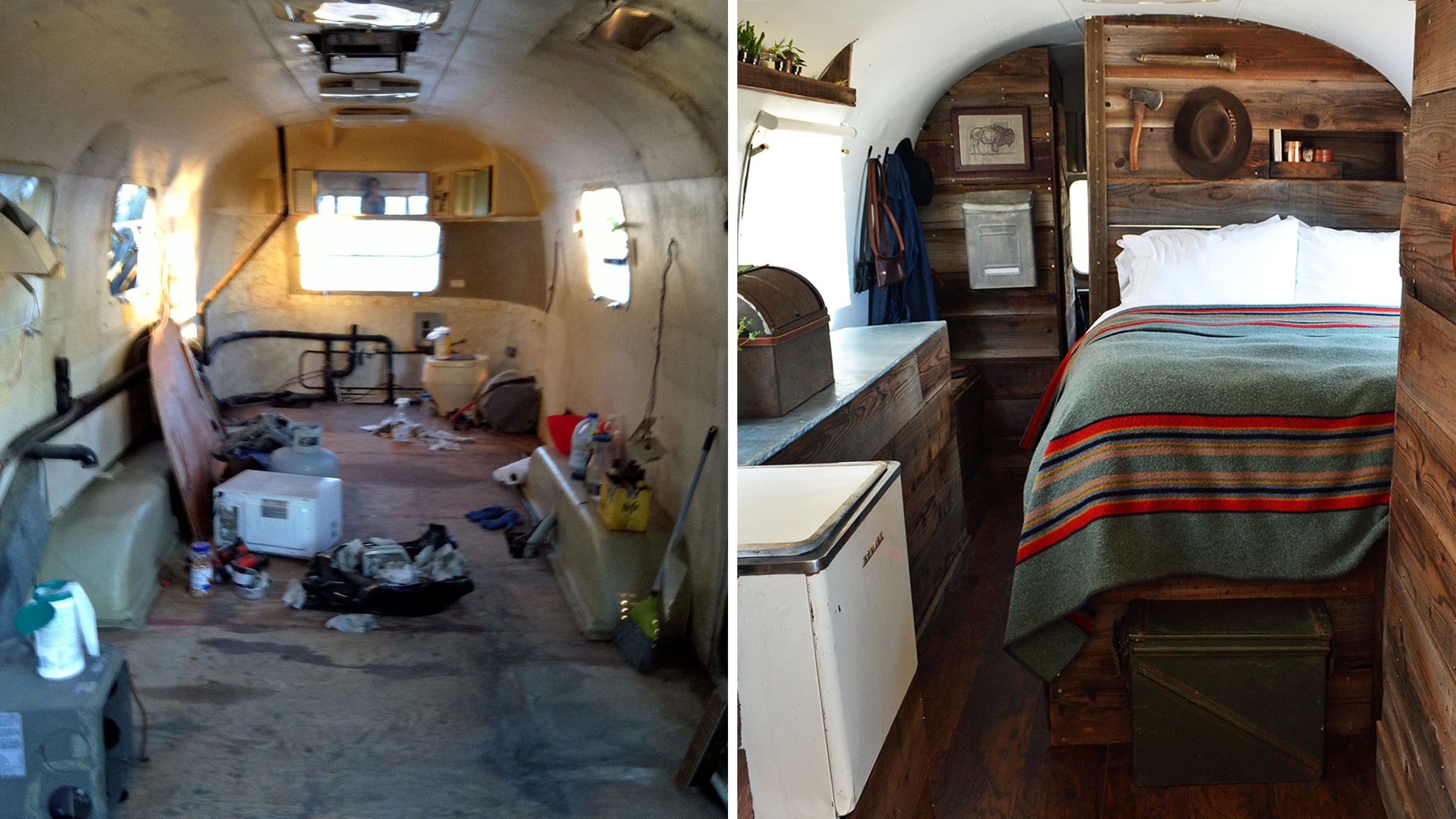Beforeandafter Pics See This Airstream Trailers Hipster - Old shabby trailer gets one hell makeover