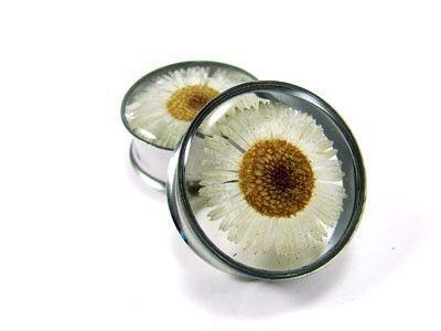 Embedded Flower Plugs gauges 1 11/8 11/4 by mysticmetalsorganics. $24.99, via Etsy.