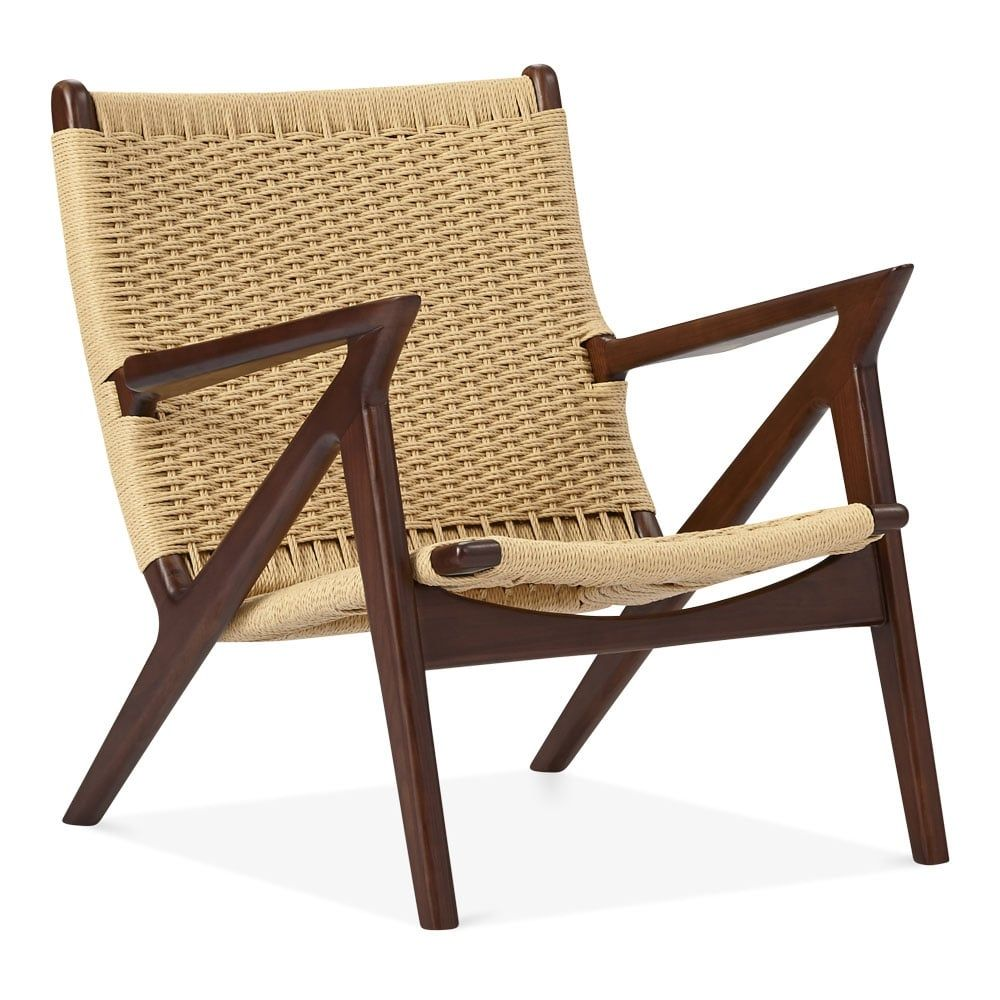 Cult design z style dane wooden lounge chair natural woven seat walnut