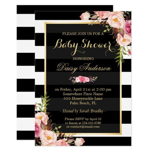 Baby Shower Classy Floral Gold Black White Stripes Invitation | Zazzle.com