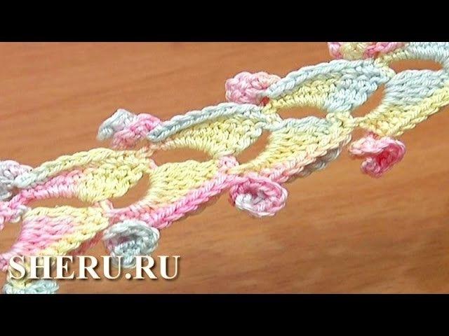 Crochet 3D Ribbon With Spirals Урок 46 Объемный шнур связанный крючком