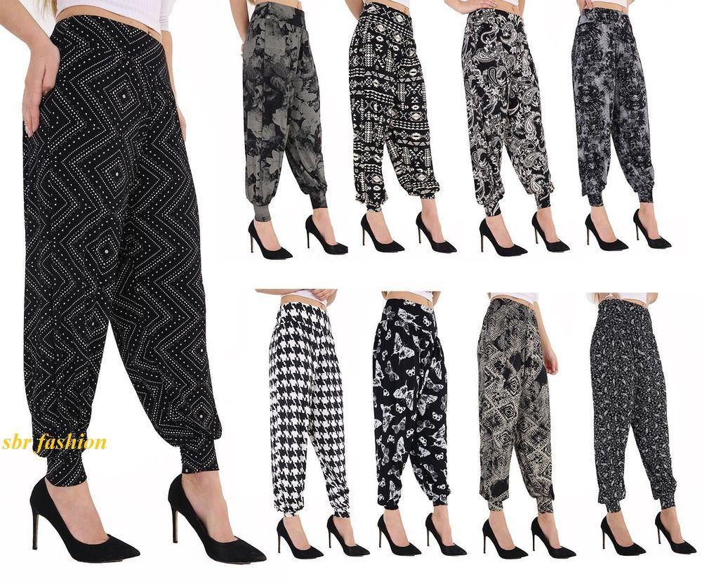 Ladies Womens Trousers Pants Hareem Ali Baba Harem Leggings Baggy Plus Size 8-26