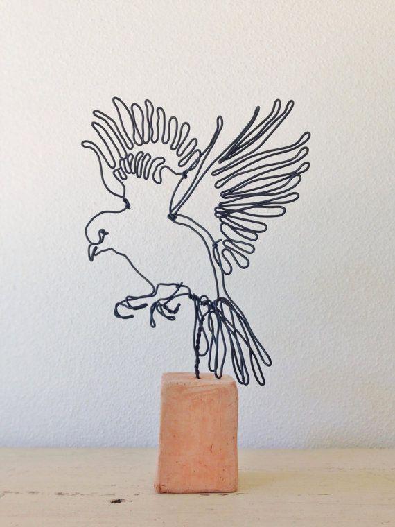 Custom Order - Wire sculpture - Bird in Flight - Canary ornament ...