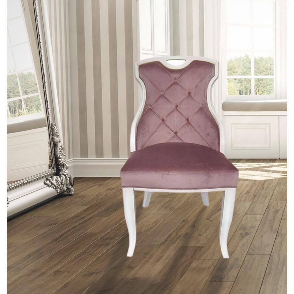 Home Accents Alliance Sofia Rose Quartz Velvet Y Back Dining Chair With Handle Set Of 2 Pastel