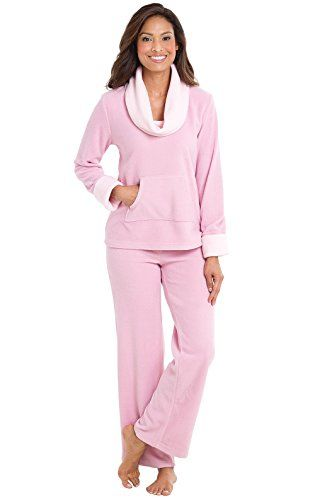 1b348cef3cb8 Super soft– Super-sweet pajama set featuring a long-sleeved turtleneck  fleece top with kangaroo pockets plus a pair of relaxed leg matching pants